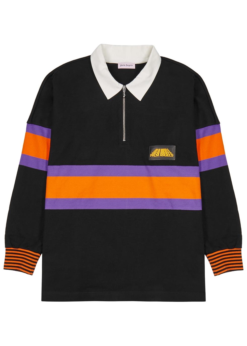 Black striped cotton polo shirt - Palm Angels