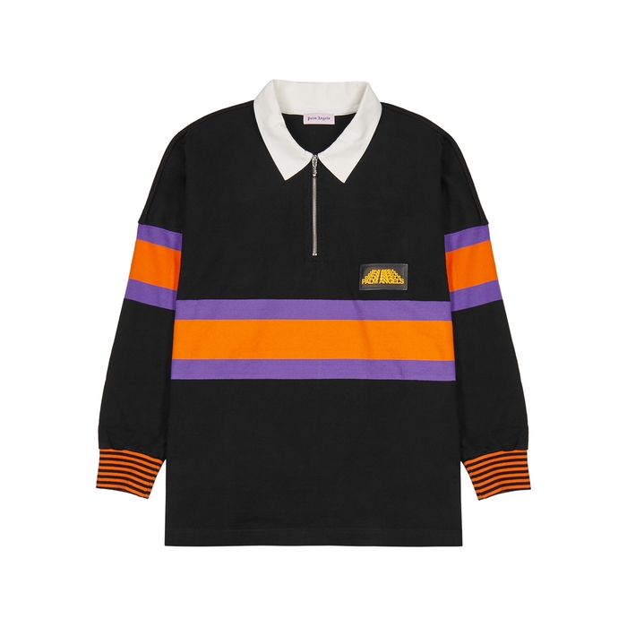 Palm Angels T-shirts Black striped cotton polo shirt