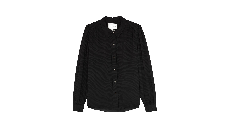 1412e88f217c4 Carmen March Black zebra-jacquard satin shirt - Harvey Nichols