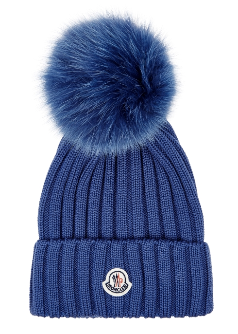 5bac1a6657b Moncler Blue pompom wool beanie - Harvey Nichols