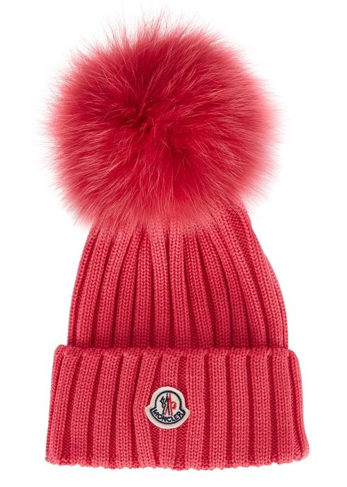 5f7c8d7ab Moncler Bright pink pompom wool beanie - Harvey Nichols