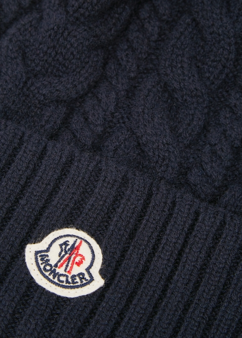 Moncler Navy cable knit pompom beanie - Harvey Nichols 4a5657762df2