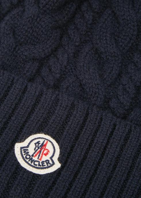 5b032a41fc568 Moncler Navy cable knit pompom beanie - Harvey Nichols