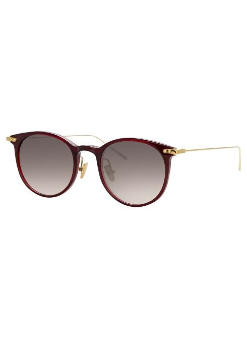 0ce6986b07a Linda Farrow Linear Burgundy oval-frame sunglasses - Harvey Nichols