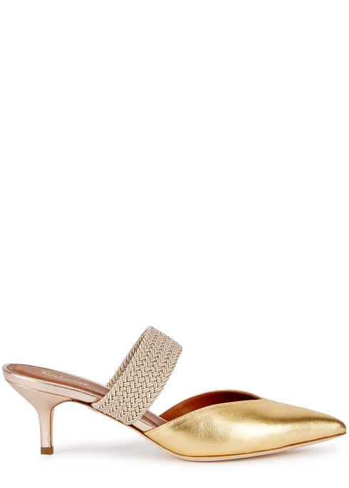4fa419e92d28 Malone Souliers Maisie 45 gold leather mules - Harvey Nichols