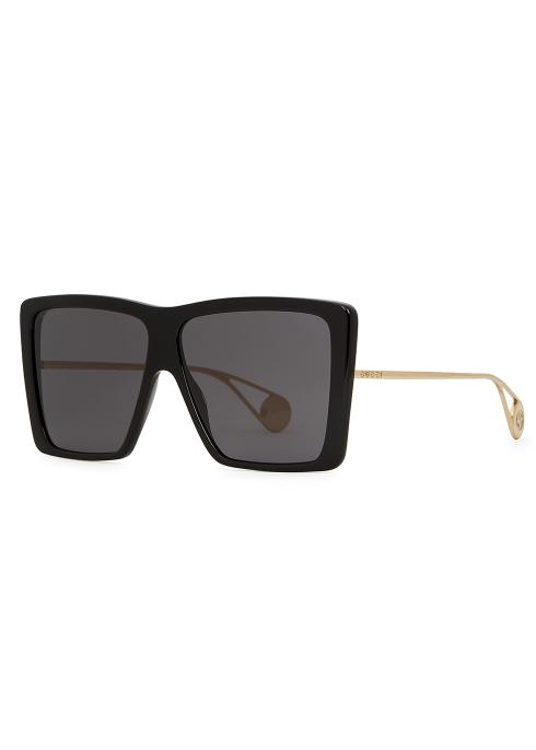 b97c8522e45 Gucci Black oversized sunglasses - Harvey Nichols