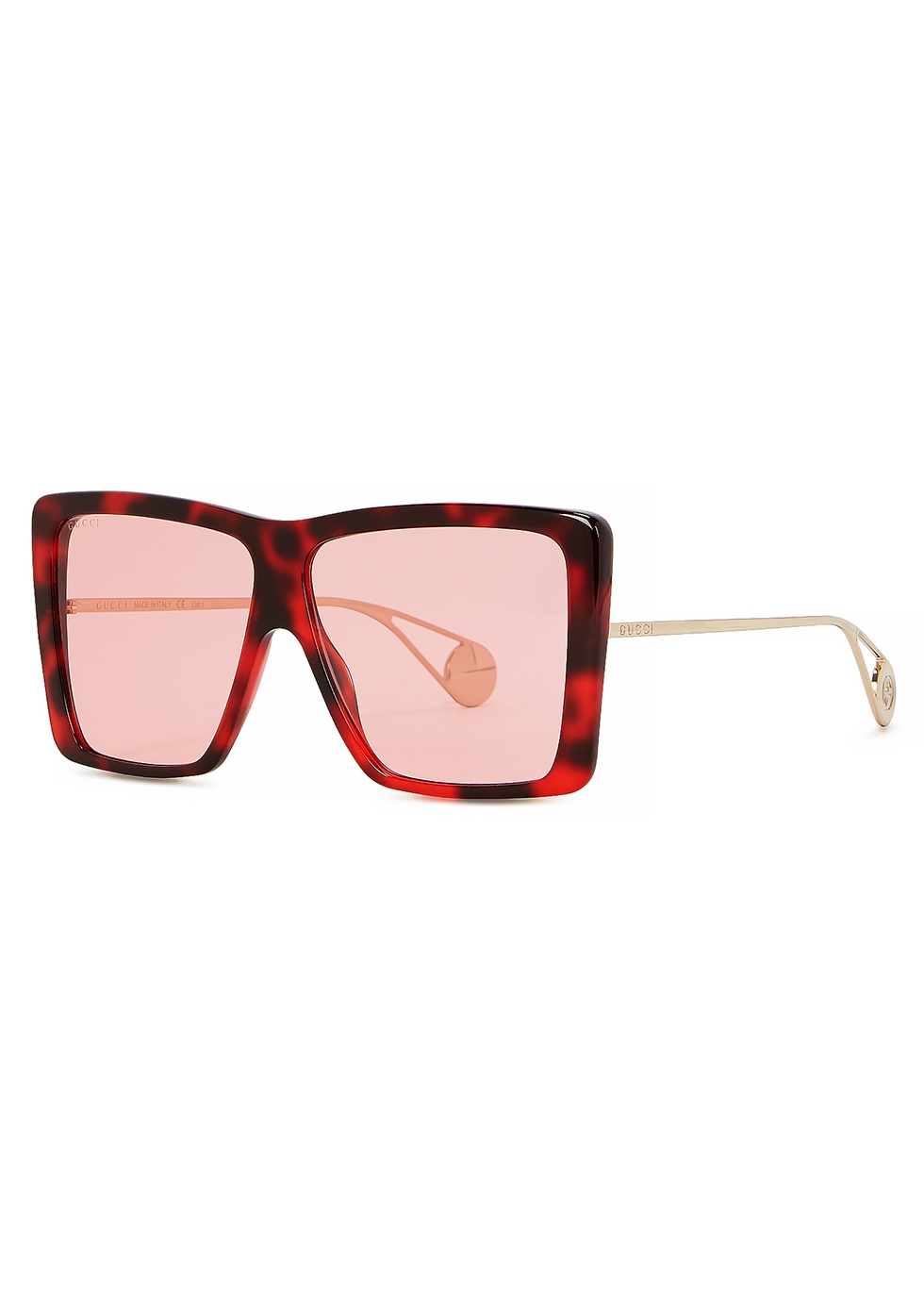 GUCCI   Gucci Pink Tortoiseshell Oversized Sunglasses   Goxip