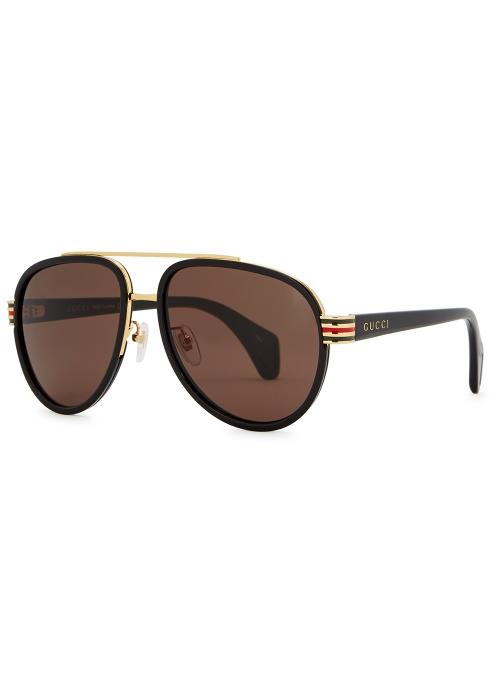 f41e562e95 Gucci Black aviator-style sunglasses - Harvey Nichols
