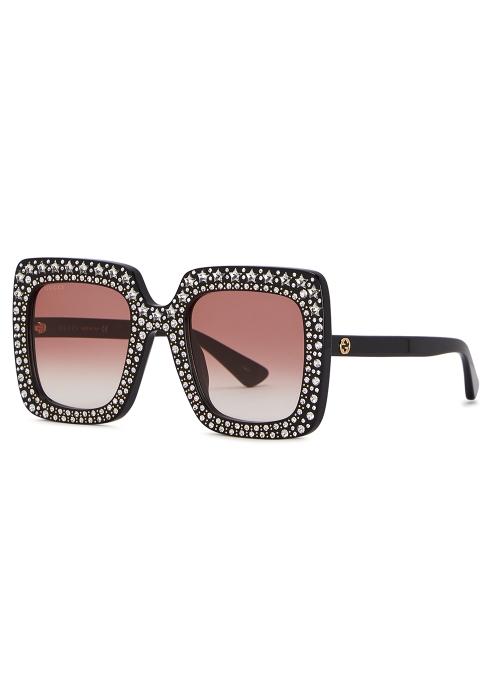 1c3bf1635e Gucci Black embellished oversized sunglasses - Harvey Nichols