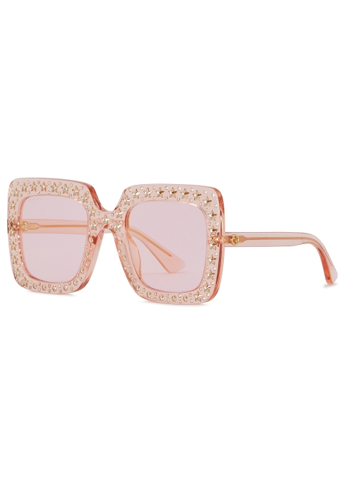 4e25c9fb43ade Gucci Pink embellished oversized sunglasses - Harvey Nichols