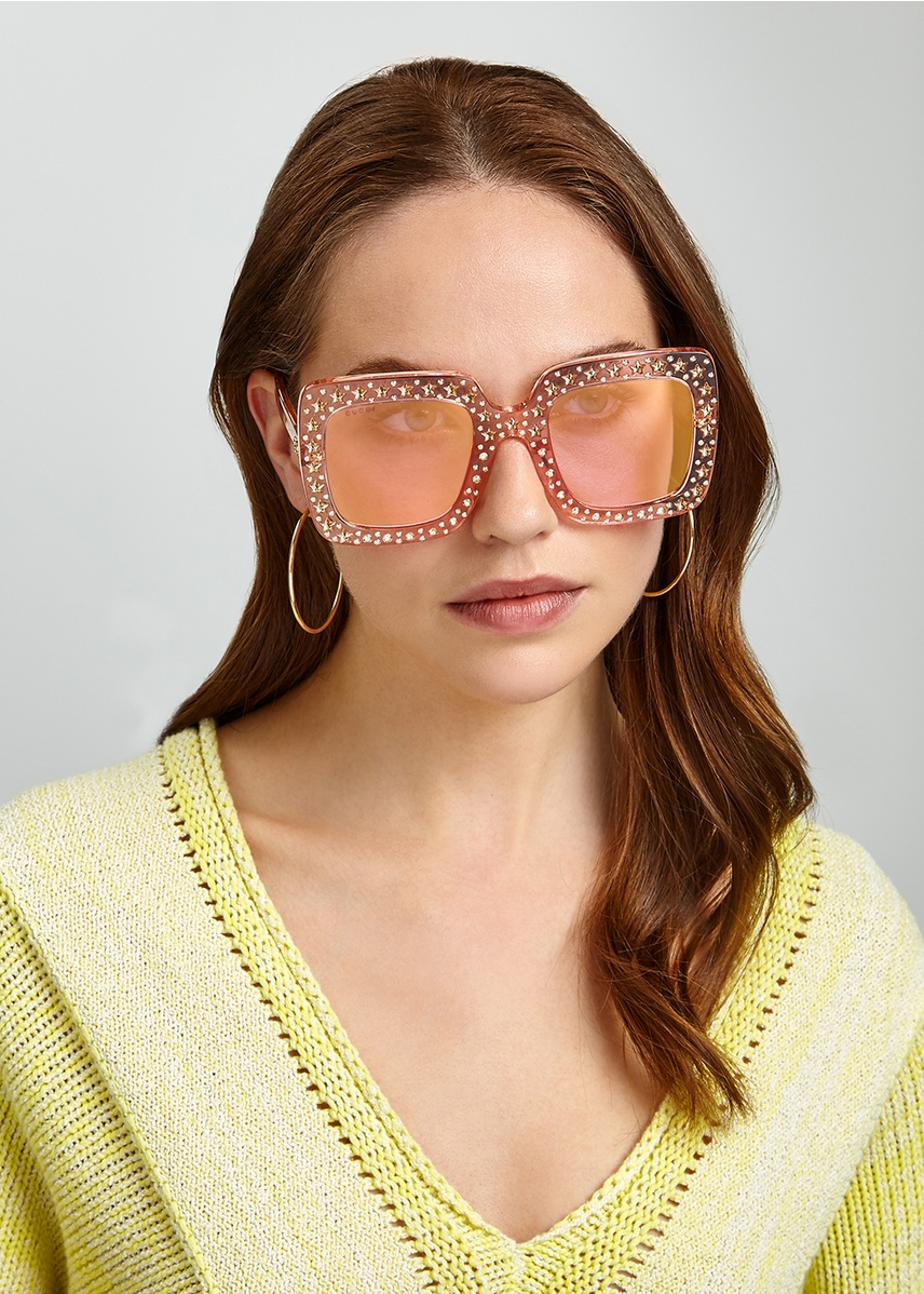 b790644e88 Pink embellished oversized sunglasses Pink embellished oversized sunglasses