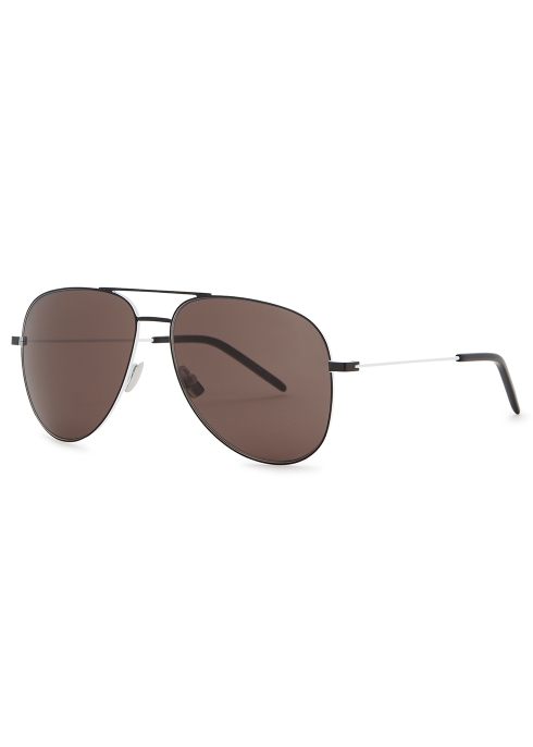 1642c68cd8 Saint Laurent Classic 11 black aviator-style sunglasses - Harvey Nichols