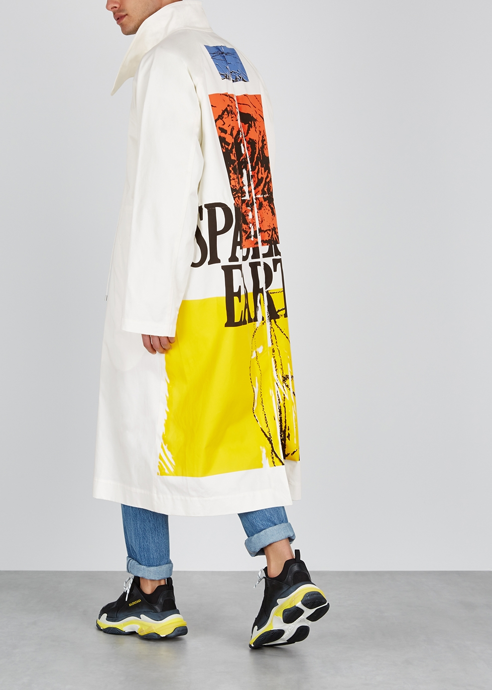 Galaxy off-white printed cotton coat - OAMC