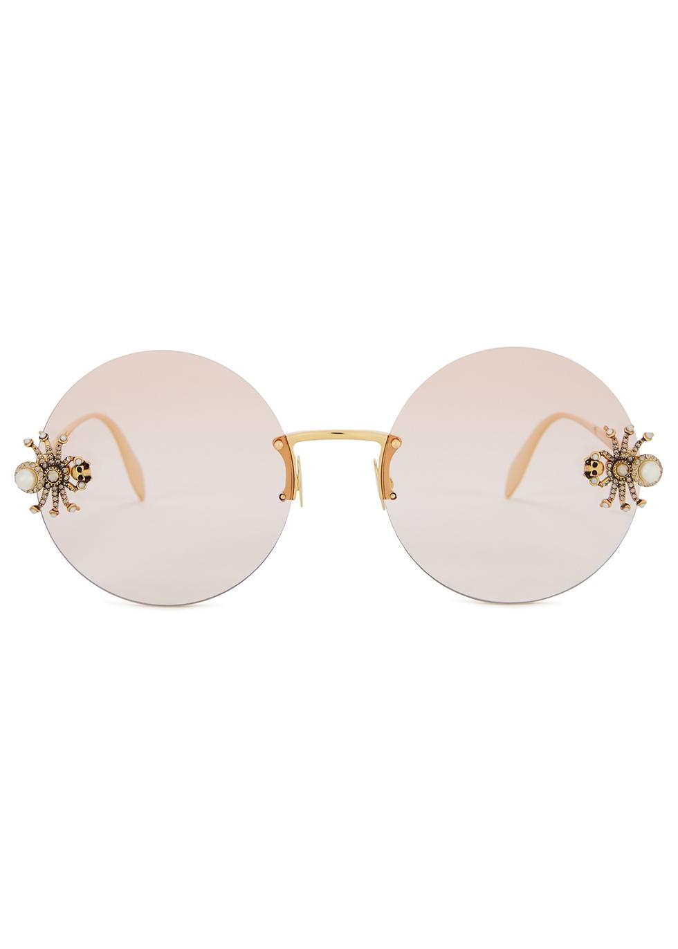 Embellished round-frame sunglasses - Alexander McQueen