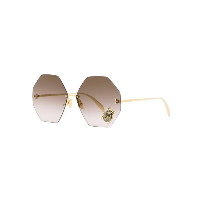 66975d01bff3 Alexander Mcqueen Embellished Hexagon-Frame Sunglasses In Gold