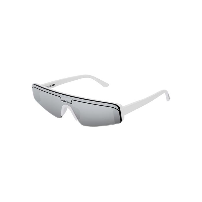 Balenciaga White Rectangle-frame Sunglasses