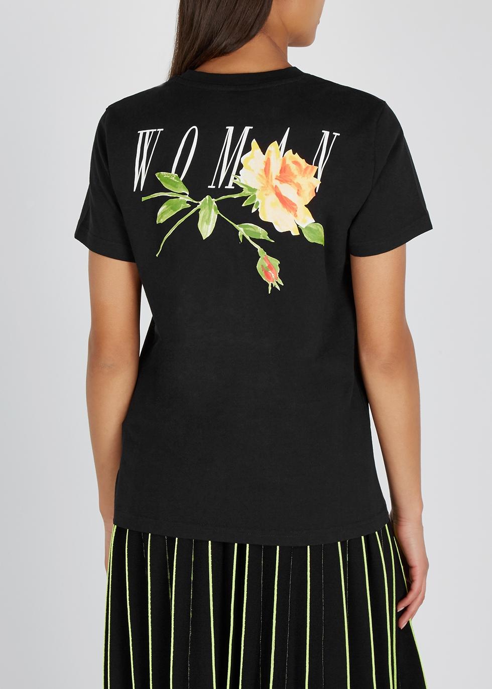 Black printed cotton T-shirt - Off-White