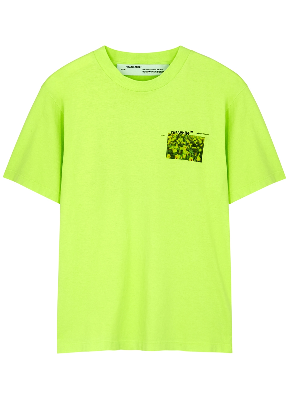 Neon green printed cotton T-shirt - Off-White