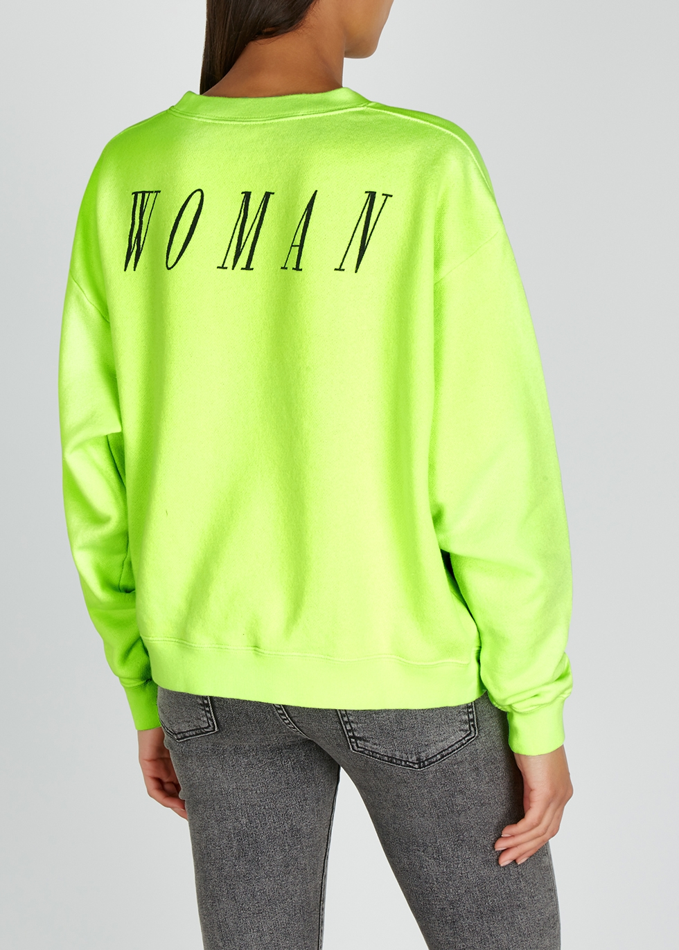 Neon green printed cotton sweatshirt - Off-White