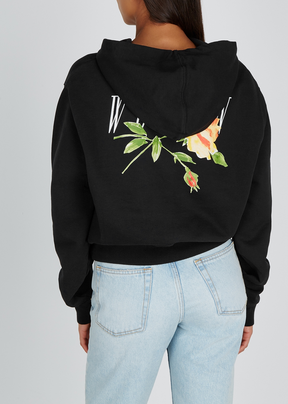 Black printed cotton-jersey sweatshirt - Off-White