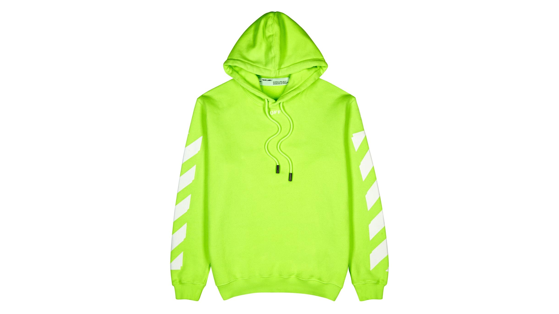 090b34b7749 Off-White Neon green hooded cotton sweatshirt - Harvey Nichols