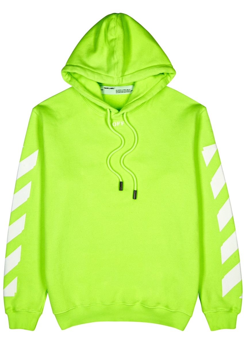 a44c7b7018e6 Neon green hooded cotton sweatshirt ...