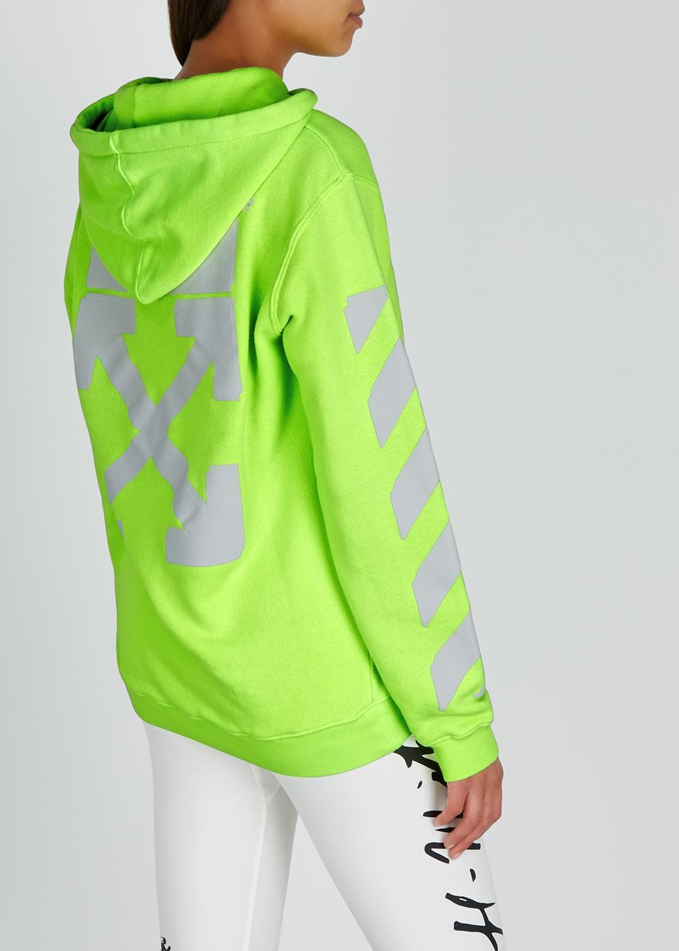 Neon green hooded cotton sweatshirt - Off-White