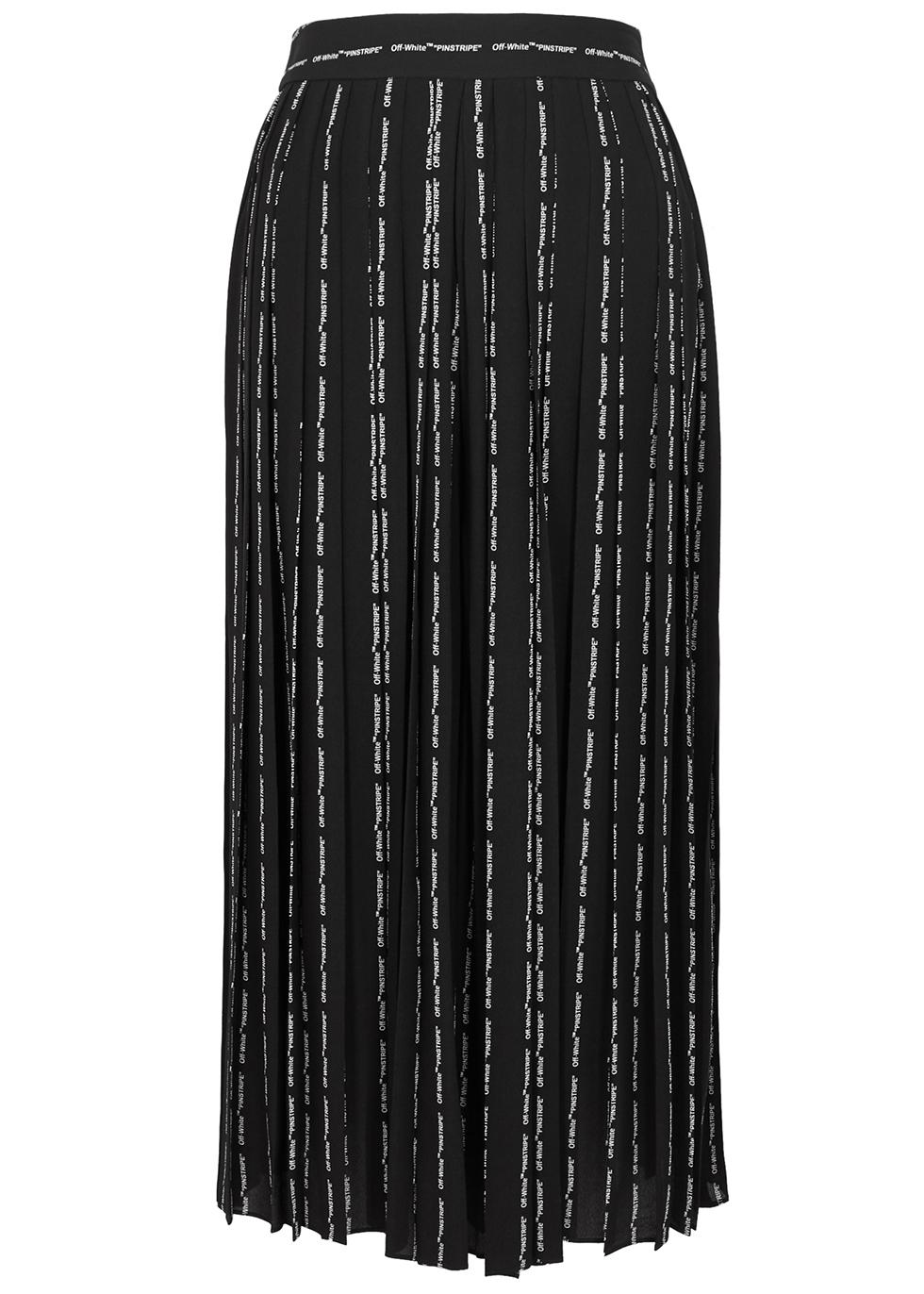 Black printed crepe culottes - Off-White