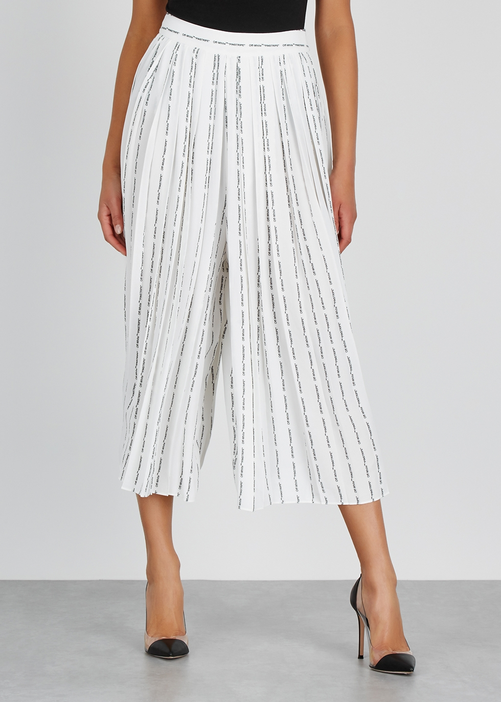 White printed crepe culottes - Off-White