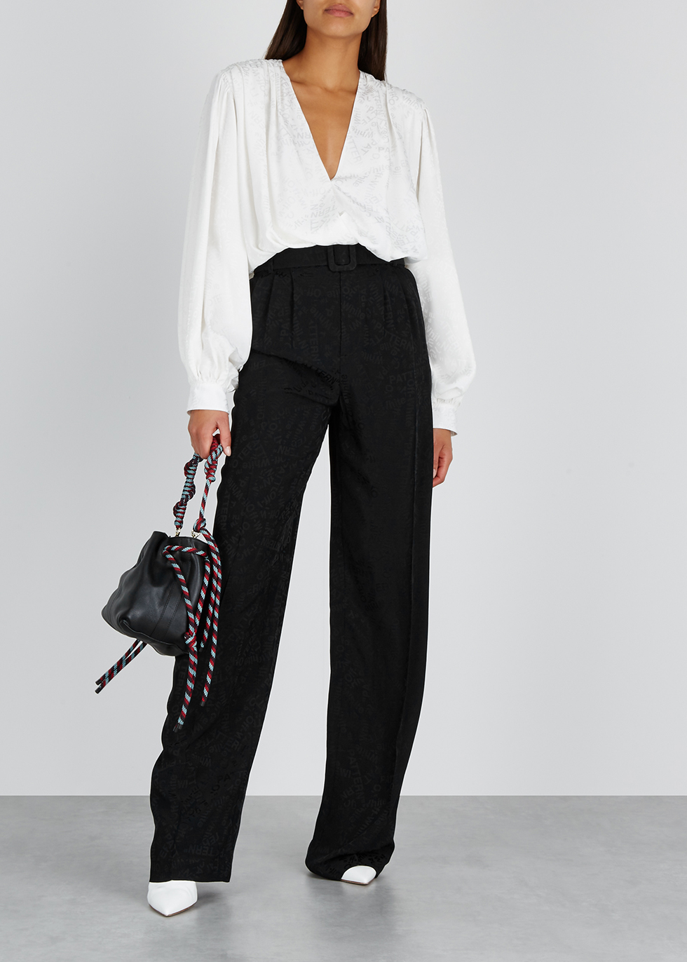 Black wide-leg jacquard trousers - Off-White