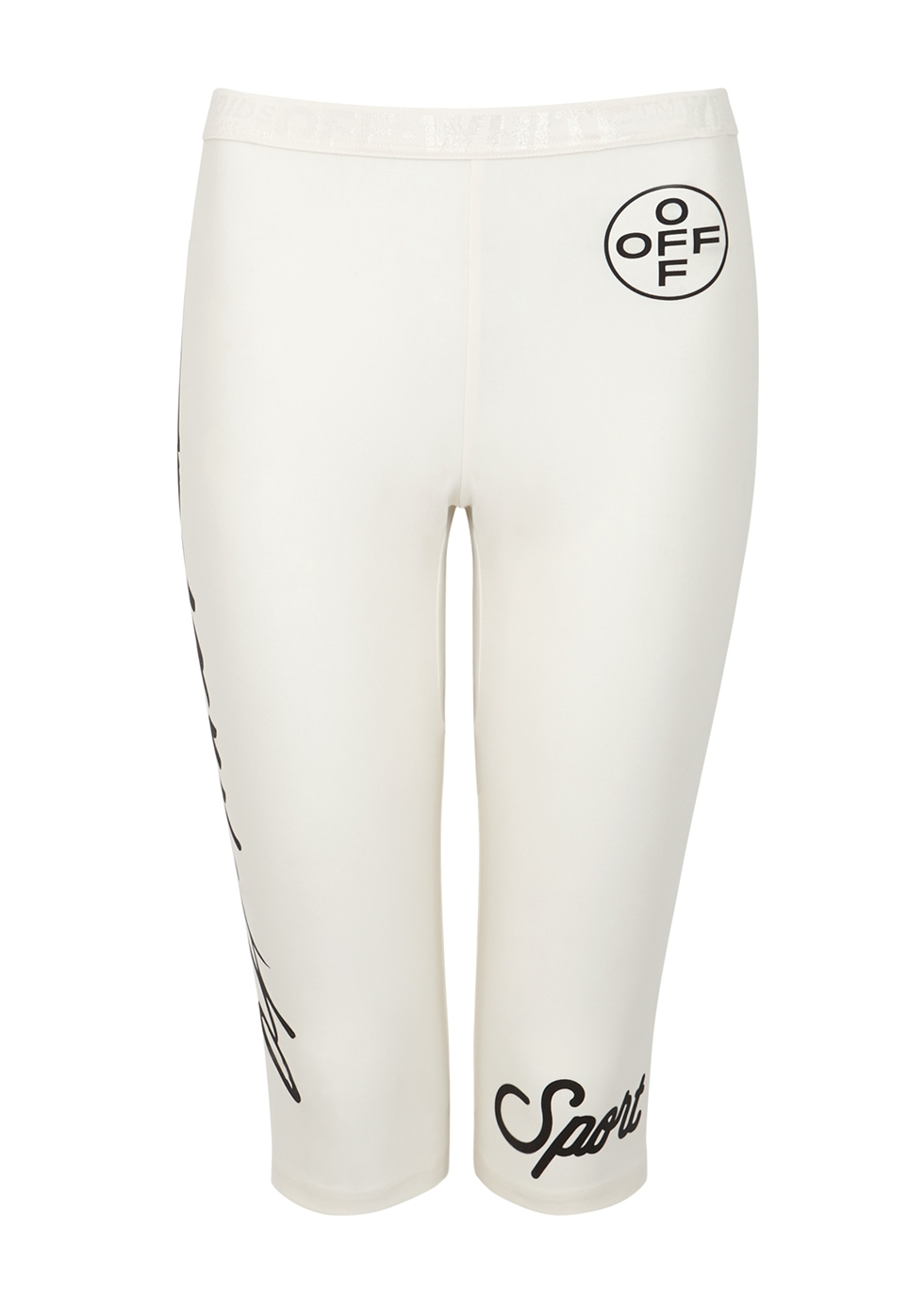 White printed stretch-jersey shorts - Off-White