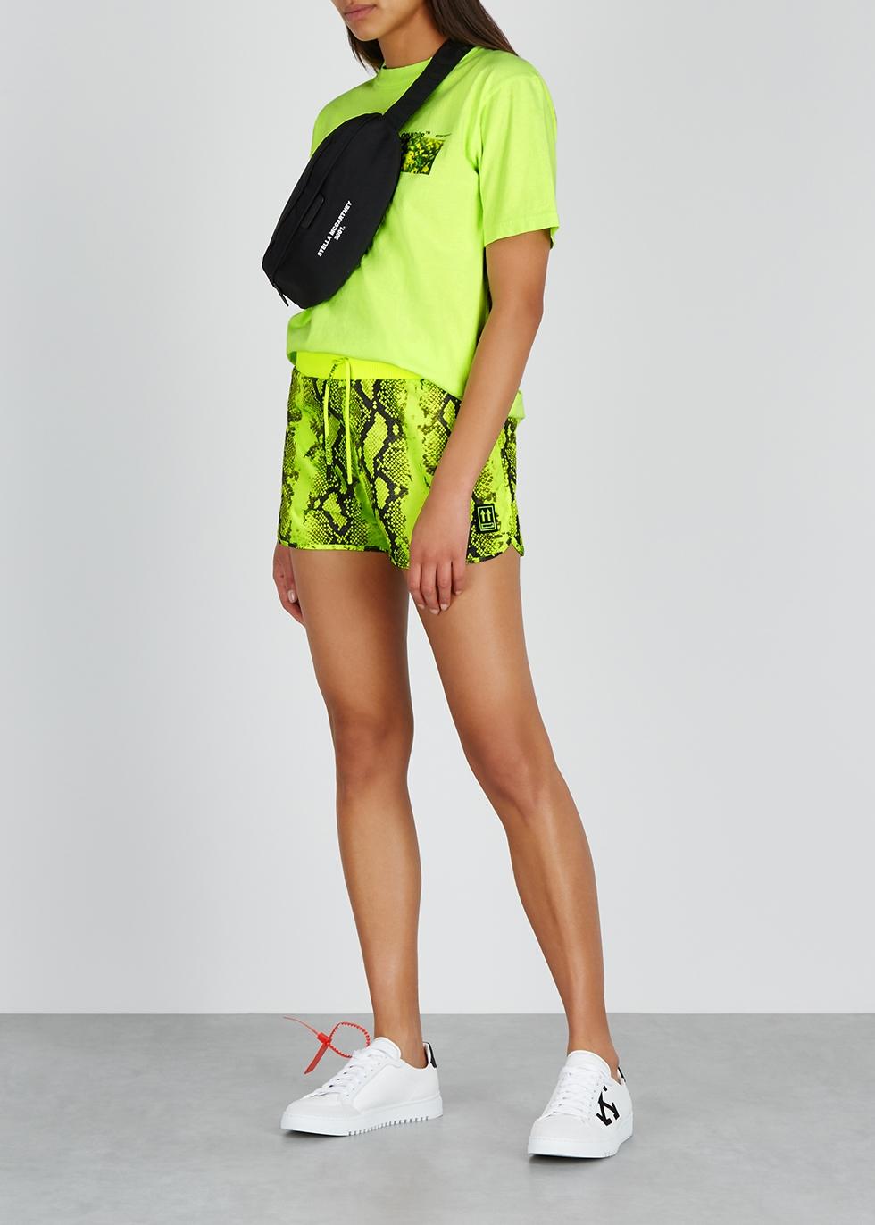 Lime python-print shell shorts - Off-White