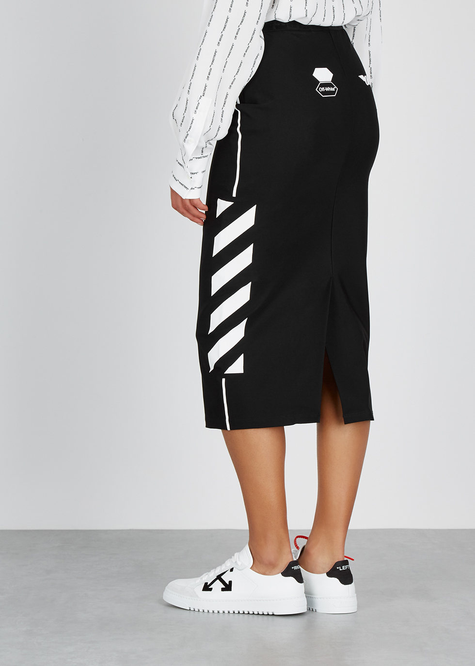 Black printed jersey pencil skirt - Off-White