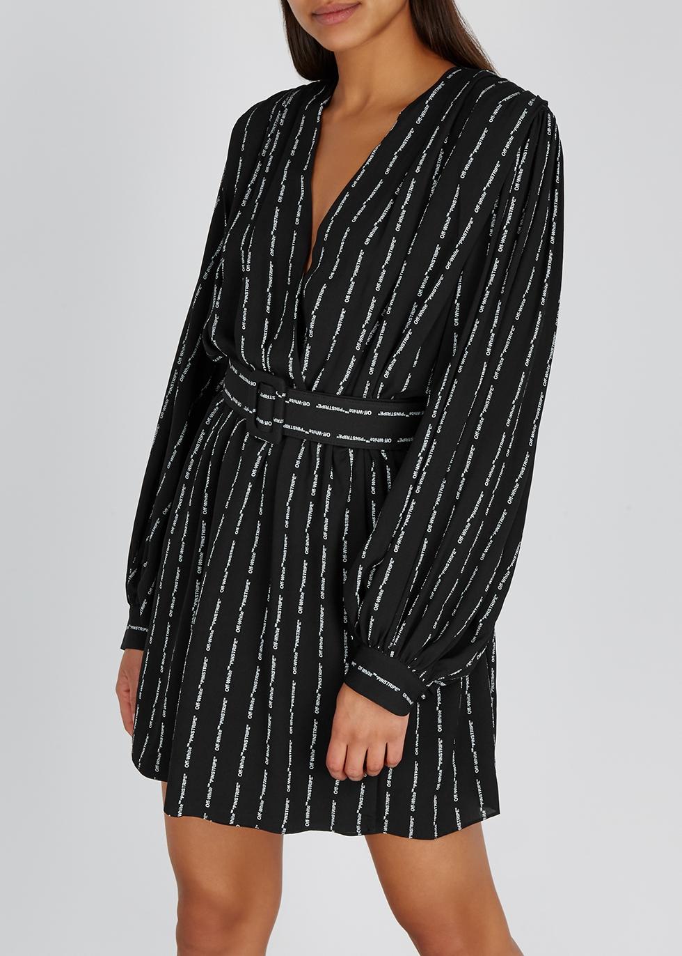 Black printed crepe dress - Off-White