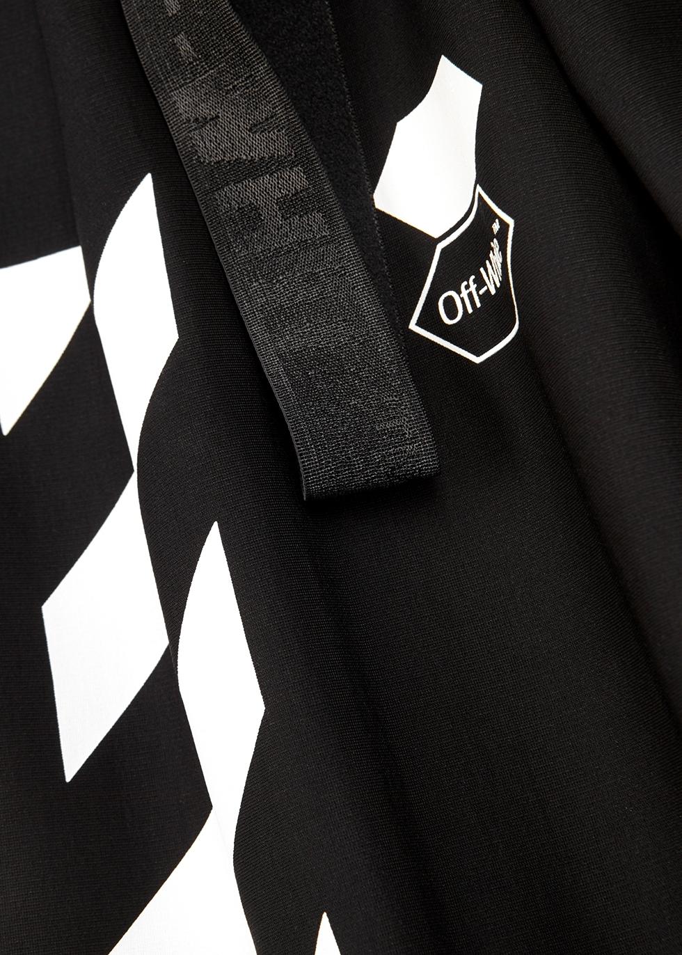Black printed stretch-jersey dress - Off-White