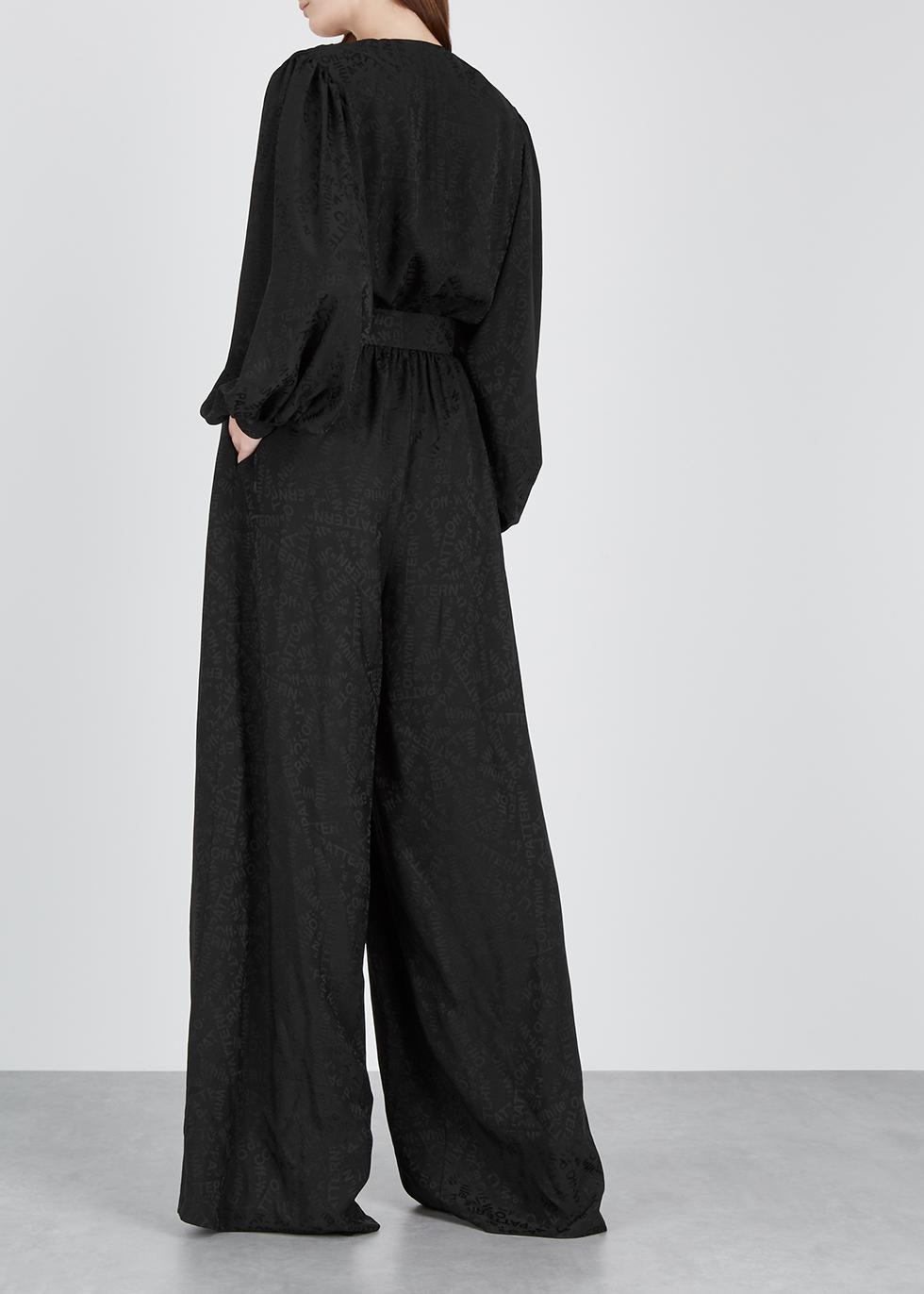 Black belted jacquard jumpsuit - Off-White