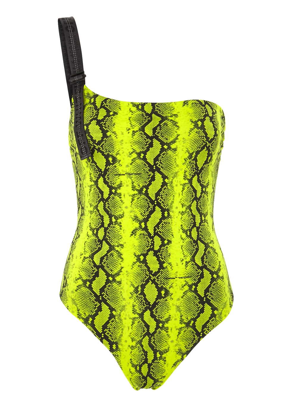 Lime python-print swimsuit - Off-White