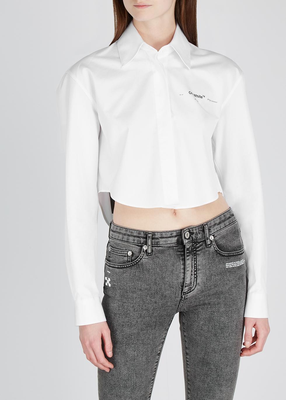 White cropped cotton shirt - Off-White