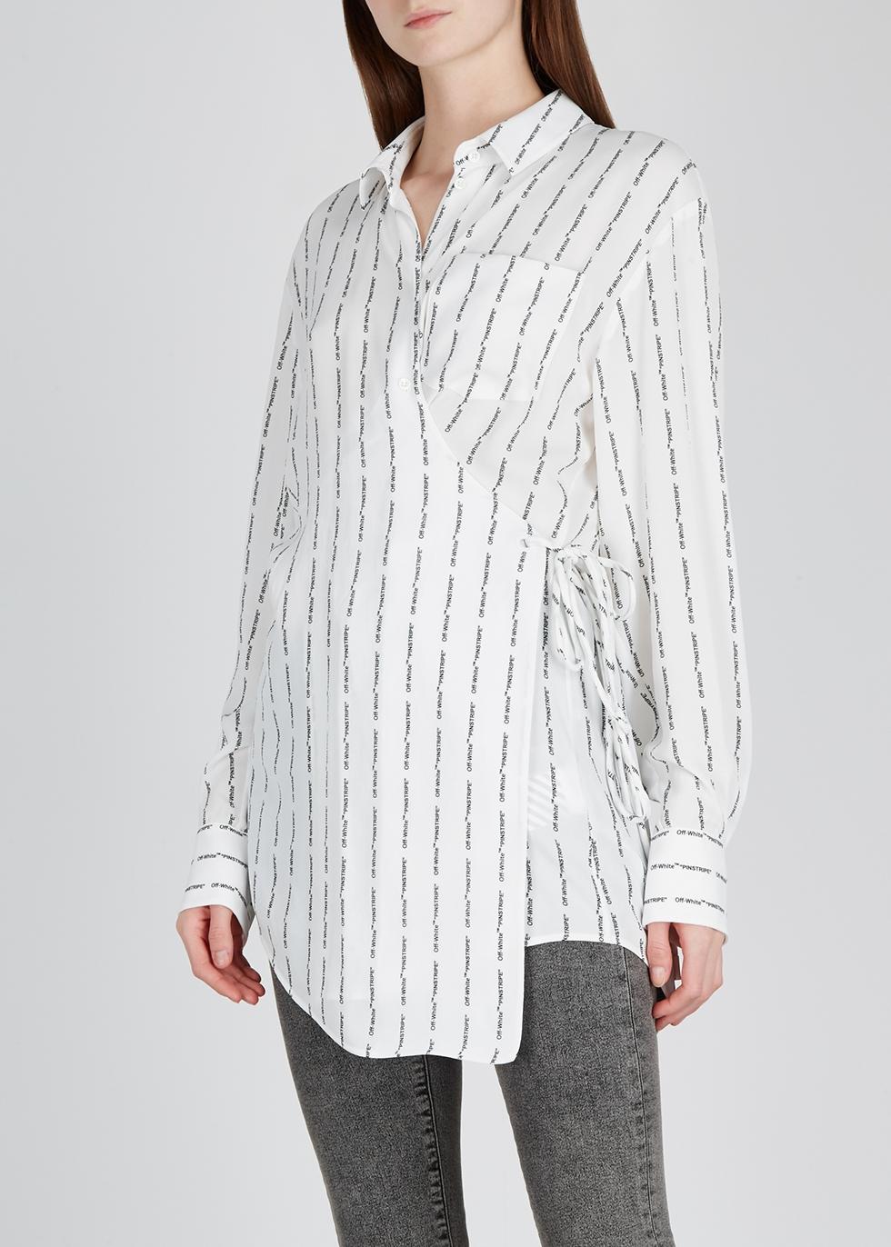 White printed wrap blouse - Off-White