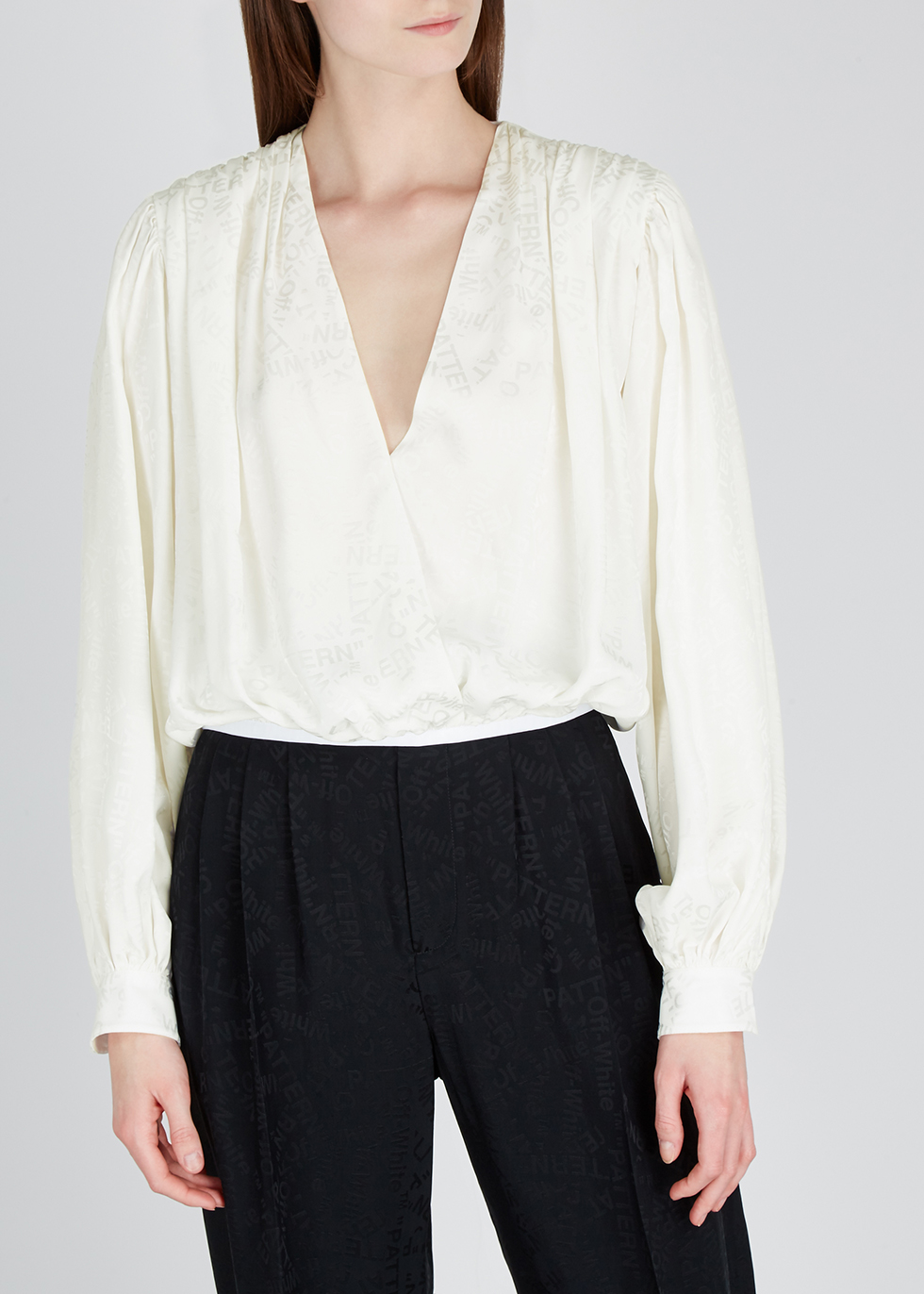White wrap-effect jacquard blouse - Off-White