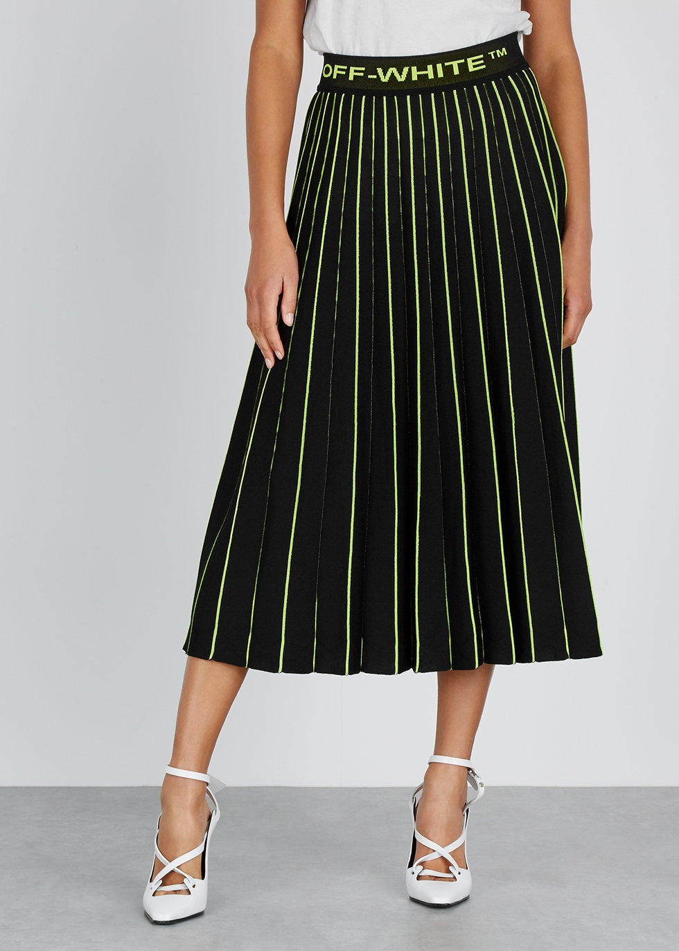 Black pleated stretch-knit skirt - Off-White