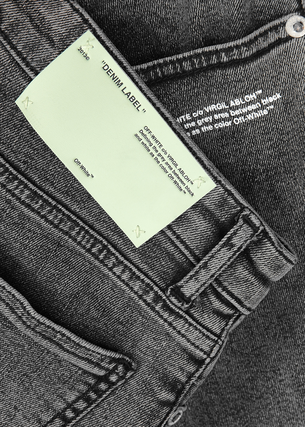 Grey denim capri jeans - Off-White