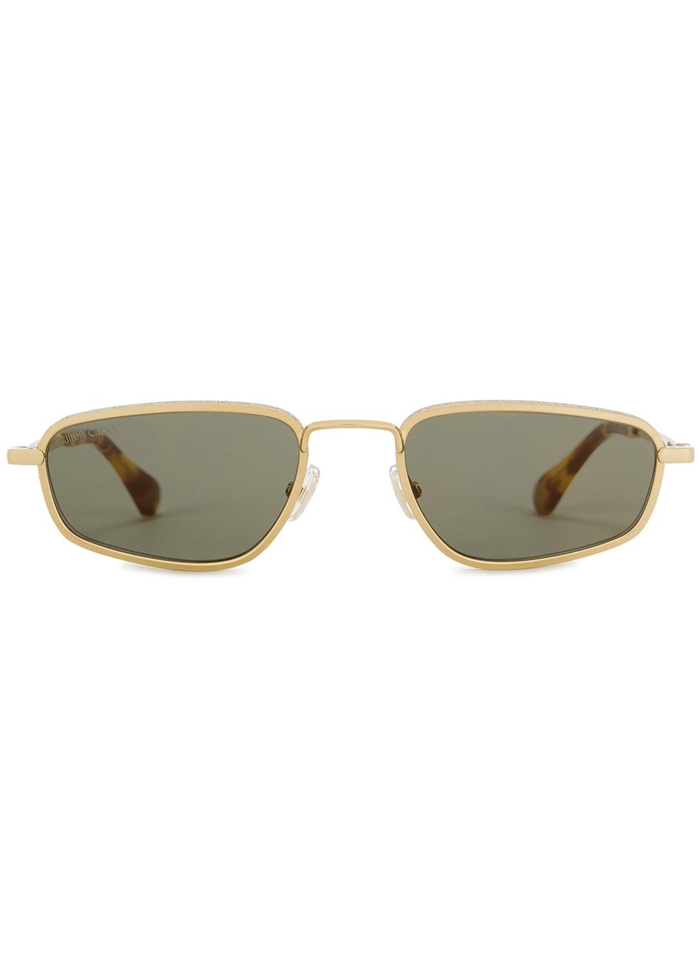 Gal gold-tone rectangular-frame sunglasses - Jimmy Choo