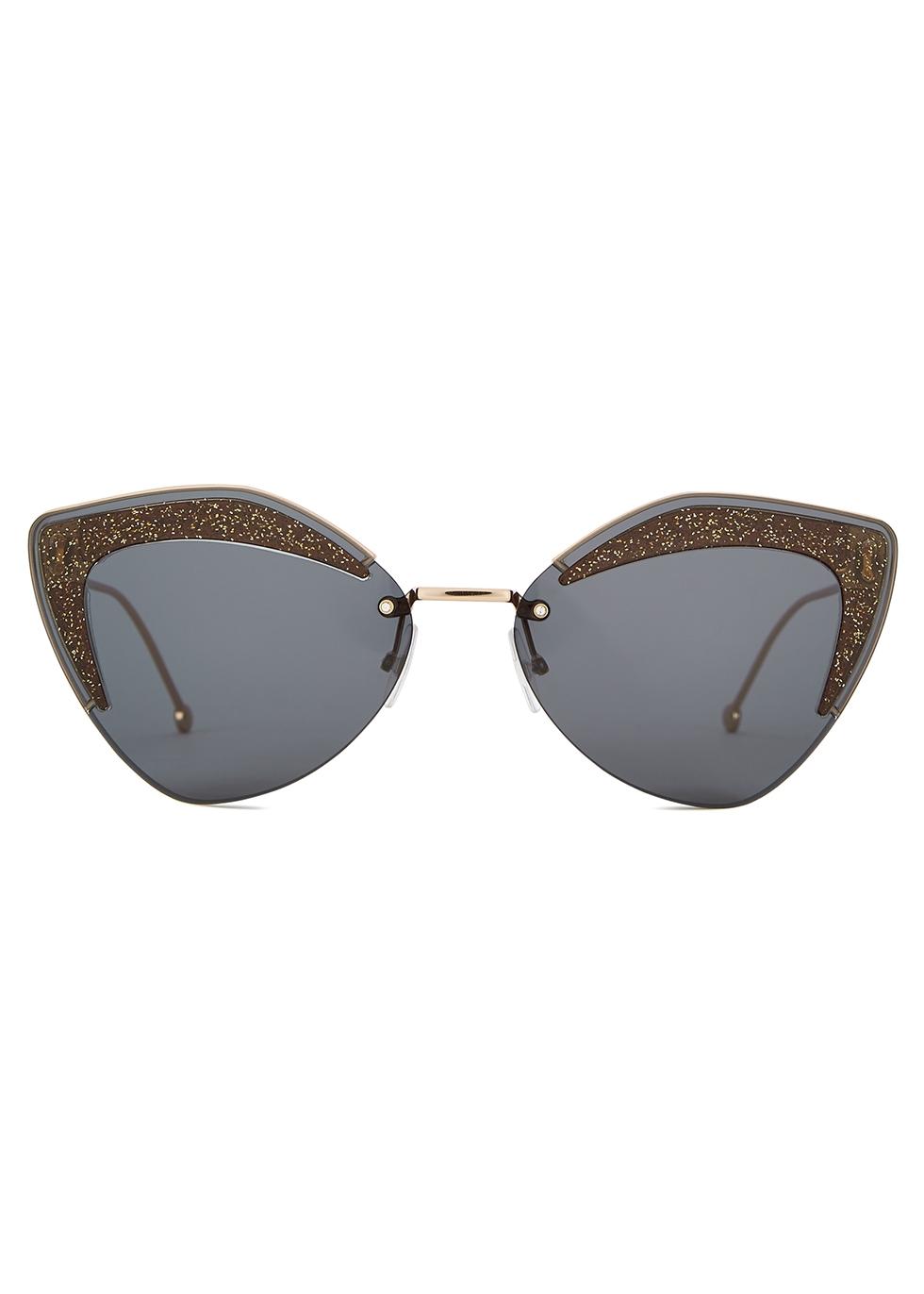 Glittered cat-eye sunglasses - Fendi