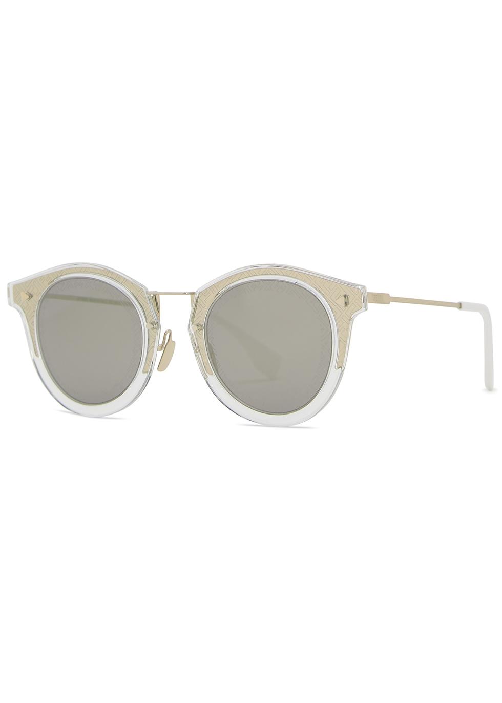 Gold-tone oval-frame sunglasses - Fendi