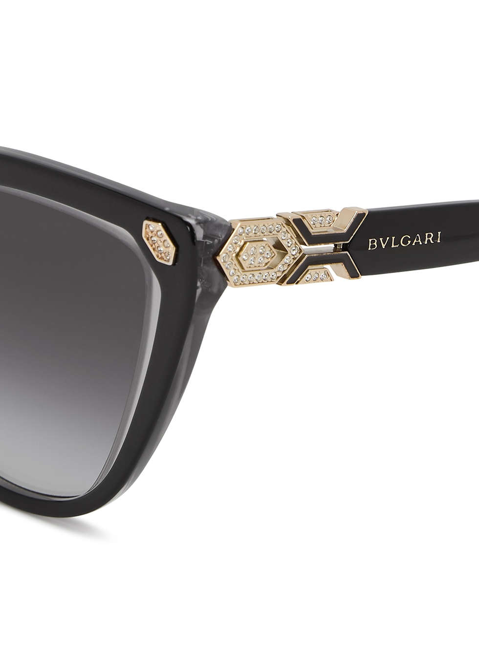 Black crystal-embellished cat-eye sunglasses - BVLGARI