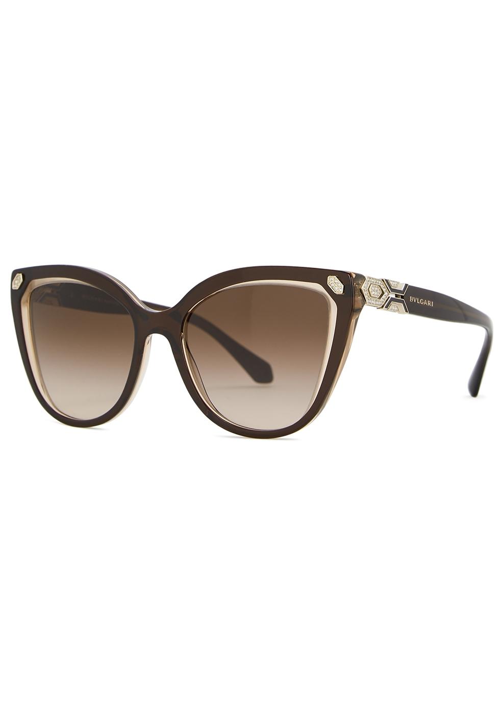 Brown crystal-embellished cat-eye sunglasses - BVLGARI