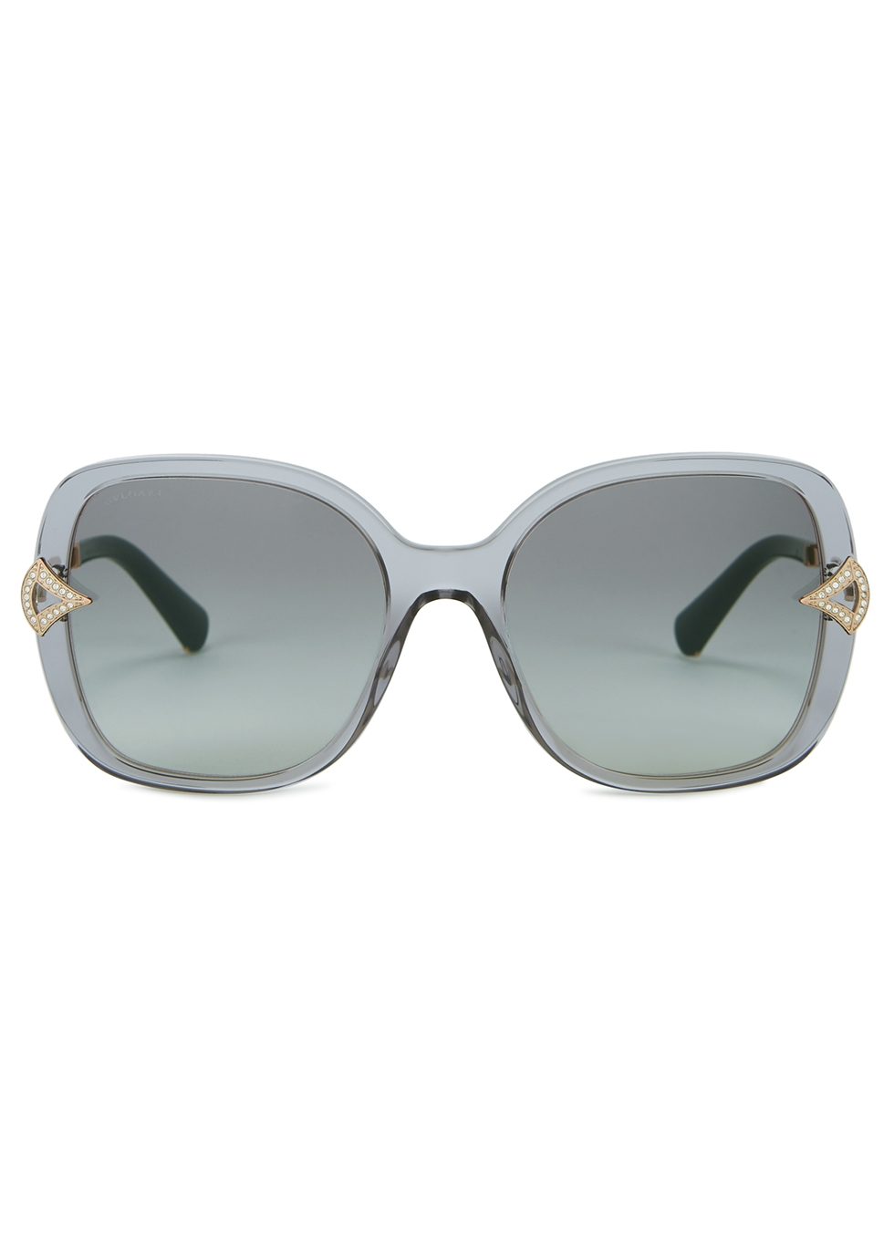 Transparent grey oversized sunglasses - BVLGARI