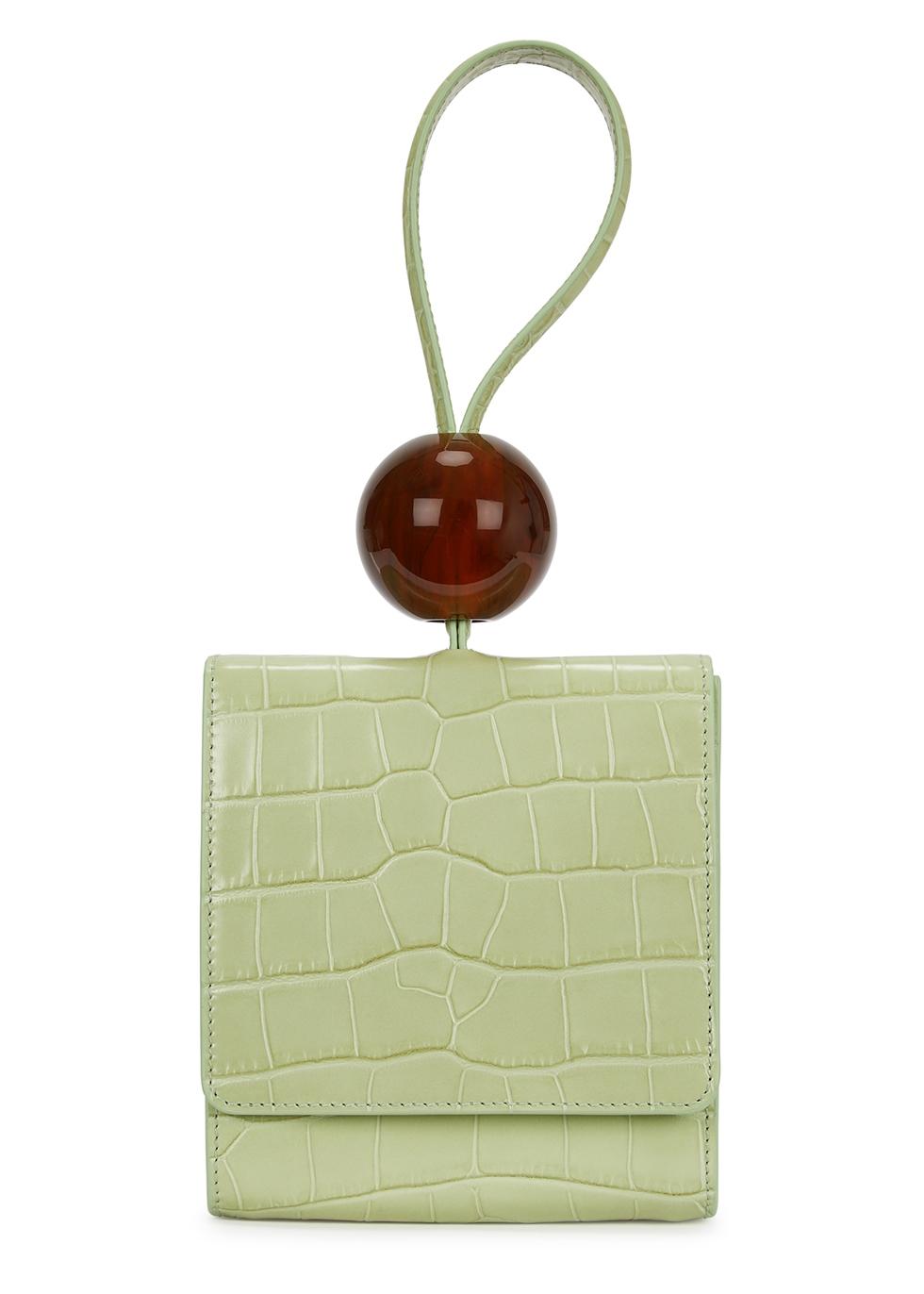 Ball mini mint green leather clutch - BY FAR