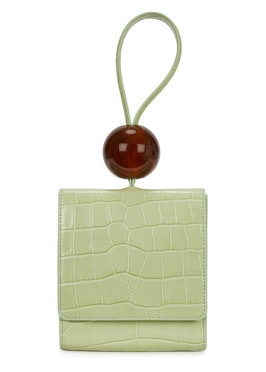 acac21d4d890 Ball mini mint green leather clutch ...